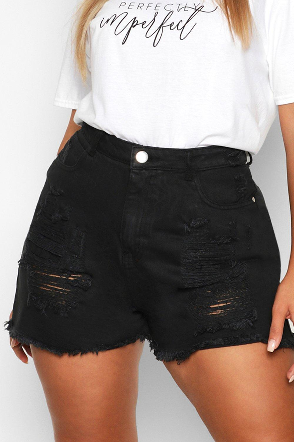 mid Short Plus Denim wash Distressed 7HF1xB