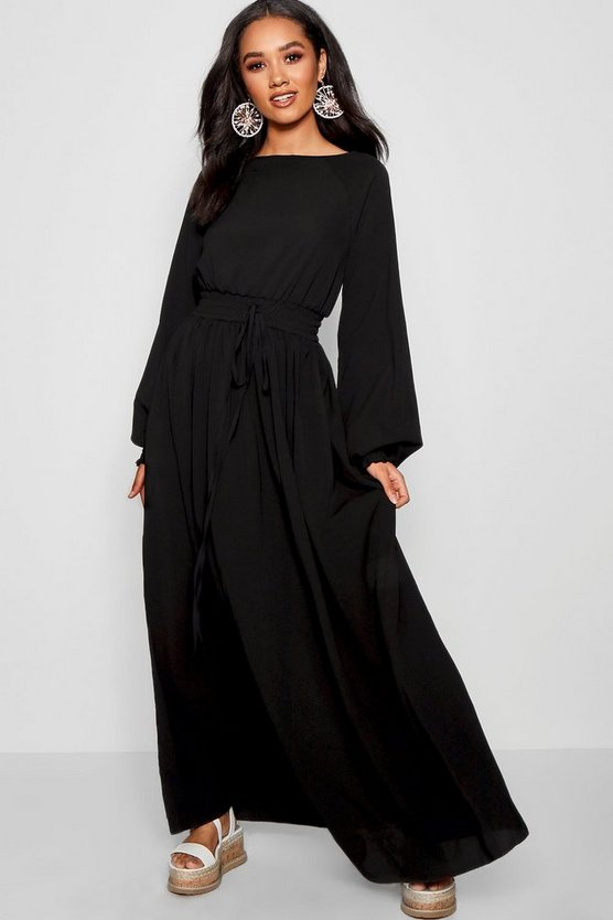 Petite Shirred Waist and Cuff Maxi Dress