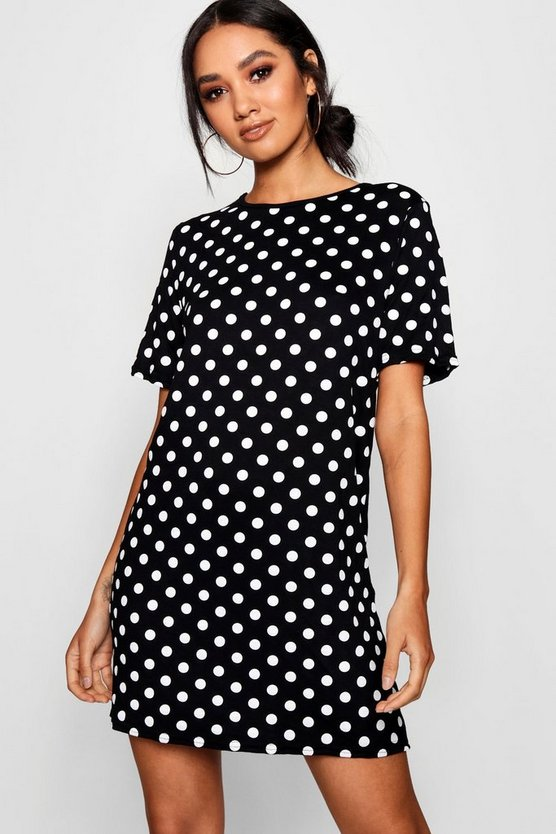 Petite Large Polka Dot T-Shirt Dress, Black, DAMEN