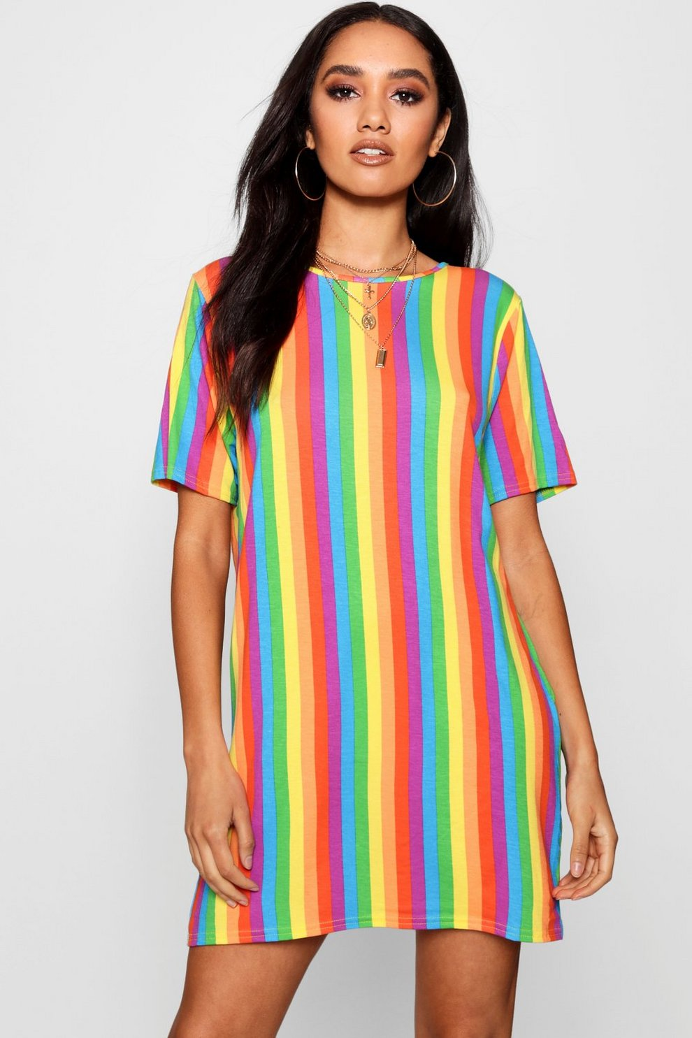 6ebc4c3b5ae4 Petite Rainbow T-Shirt Dress   Boohoo