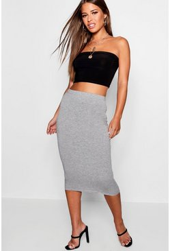 Womens Grey marl Petite Jersey Basic Midi Skirt