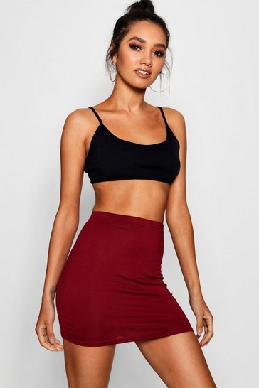 Womens Wine Petite Jersey Basic Mini Skirt