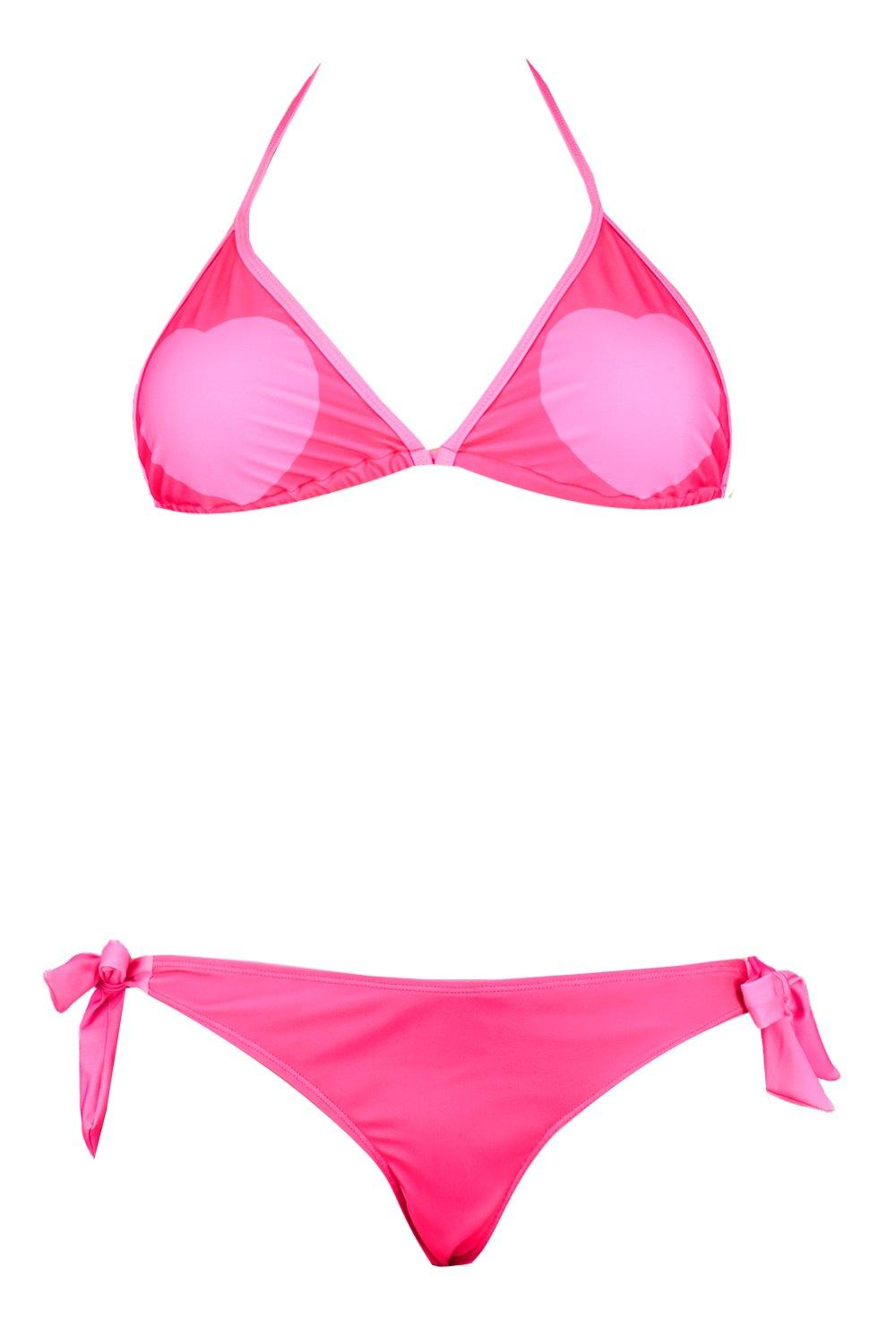 Side pink Bikini Triangle Plus Heart Tie qBxTwtRt