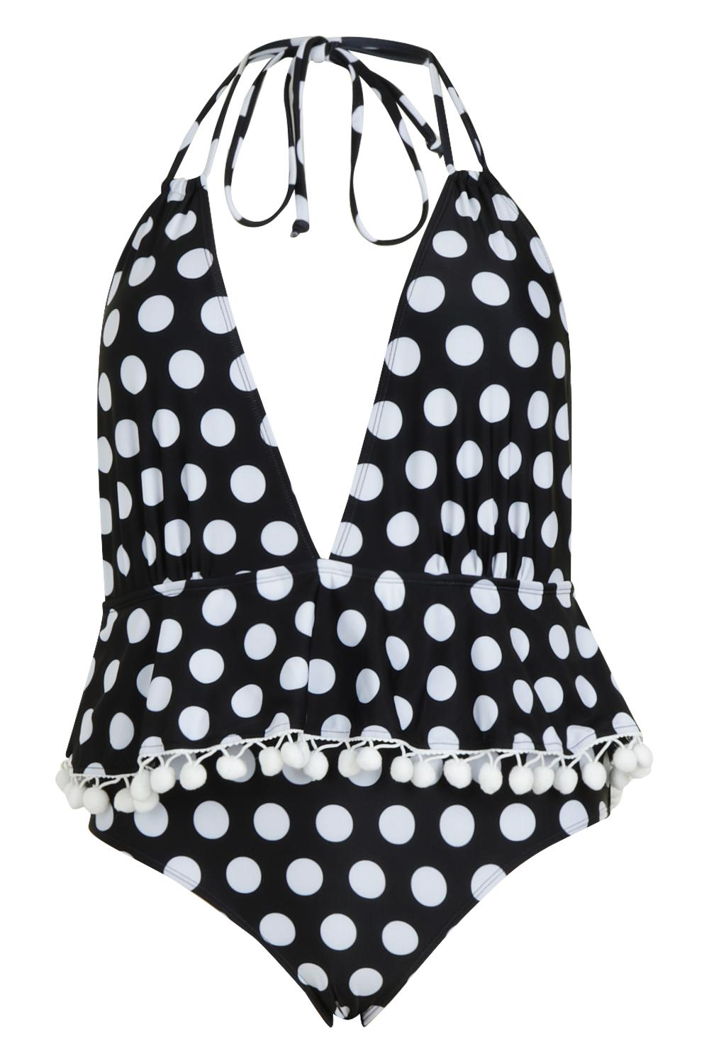 Plunge Polka Plus Swimsuit Pom Pom black Dot qzHPnHxEdw