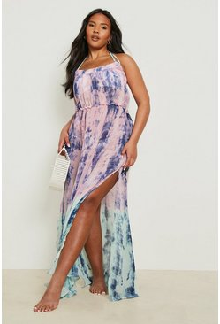 Plus Katy Tie Dye Dip Dye Maxi Dress, Pink, MUJER