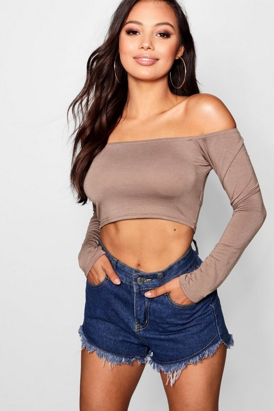 Petite Off The Shoulder Long Sleeve Top
