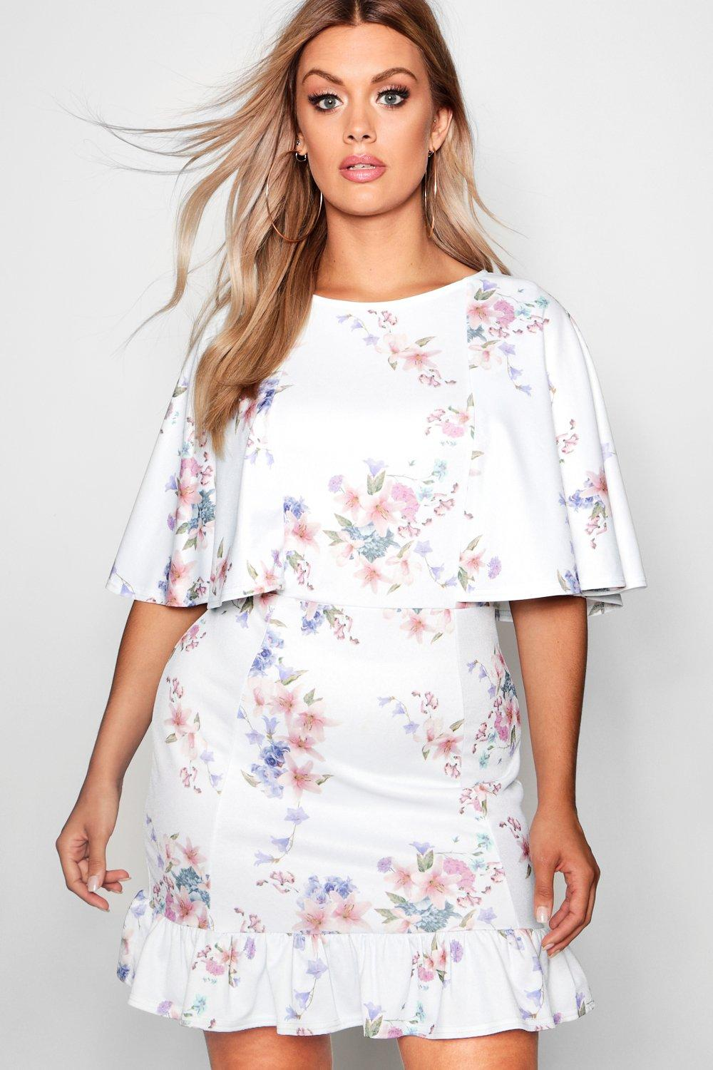 Boohoo Buy It Now, Take It Always Vestido de corte recto con detalle de capa floral Amy Plus Boohoo - Ropa boohoo plus y curve Comprar ANIGSOG