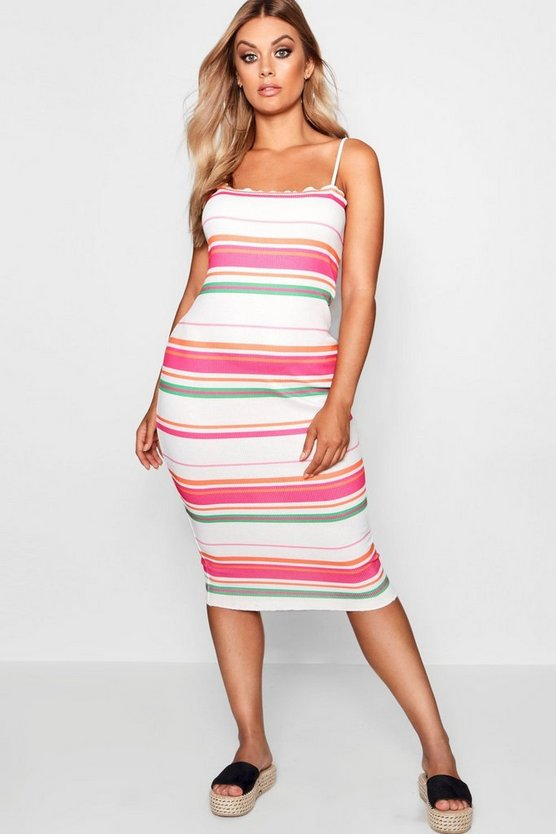 Plus Ruby Stripe Strappy Midi Dress