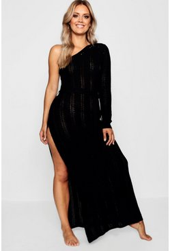 Womens Black Plus One Shoulder Crochet Beach Dress