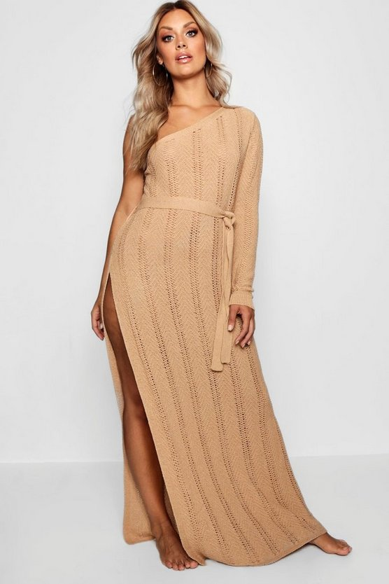 Womens Mocha Plus One Shoulder Crochet Beach Dress