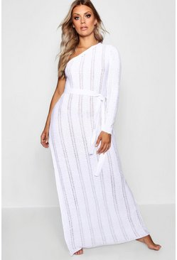 White Plus One Shoulder Crochet Beach Dress