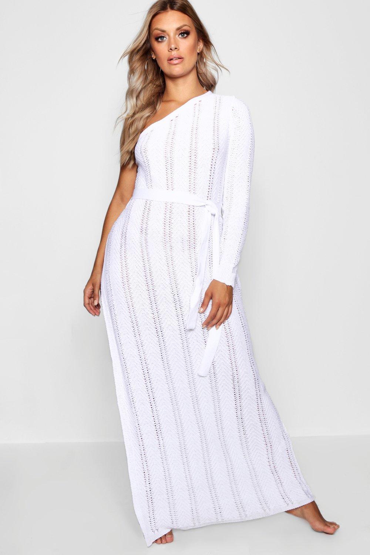 Plus One Shoulder Crochet Beach Dress   Boohoo