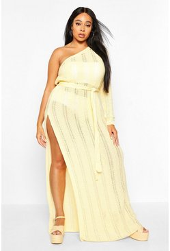 Womens Yellow Plus One Shoulder Crochet Beach Dress