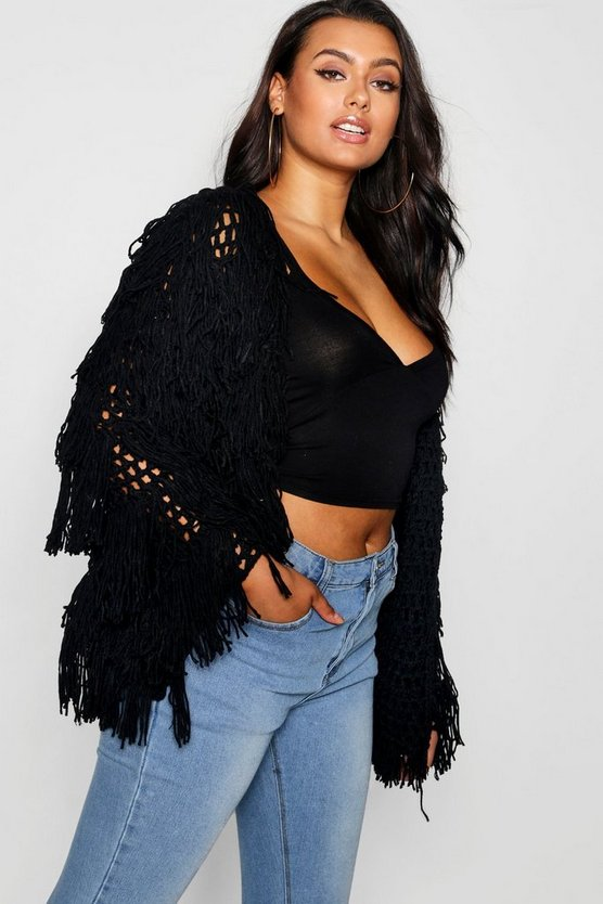 Black Plus Shaggy Knit Cropped Cardigan