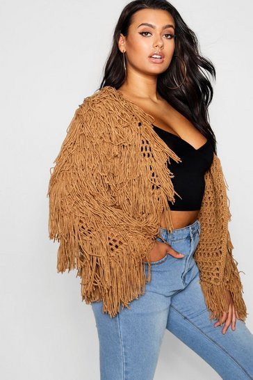 Womens Caramel Plus Shaggy Knit Cropped Cardigan