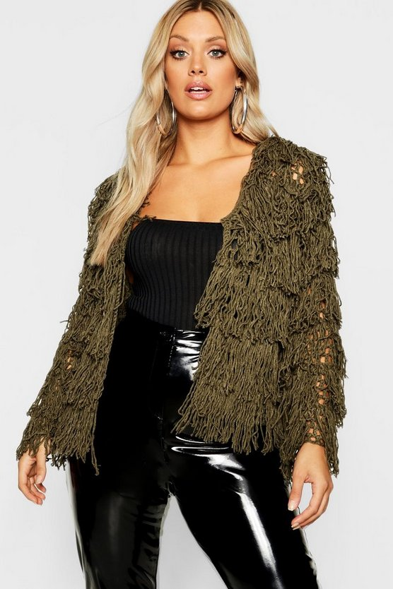 Plus Shaggy Knit Cropped Cardigan