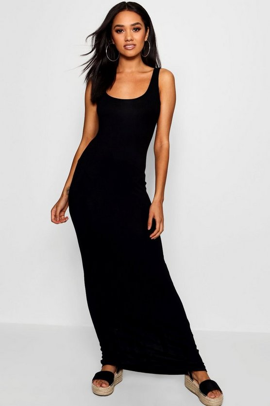 Womens Black Petite Maxi Dress