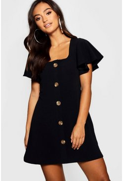 Womens Black Petite Frill Shoulder Mock Horn Button Shift Dress
