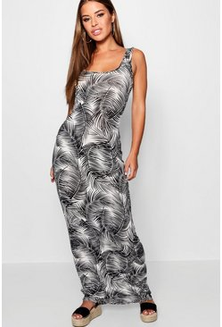 Womens Black Petite Palm Print Maxi Dress