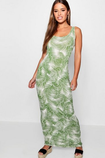 Womens Green Petite Palm Print Maxi Dress