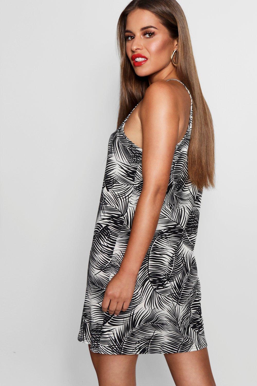 ef02419c8f Boohoo Womens Petite Francesca Palm Print Shift Dress in Black size 0