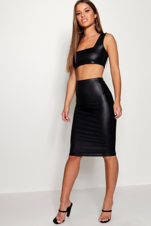 c26923e61e Womens Black Petite Wet Look Square Neck Top & Midi Skirt Co-Ord Set. Hover  to zoom