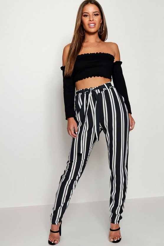 Womens Black Petite Tie Waist Striped Trouser