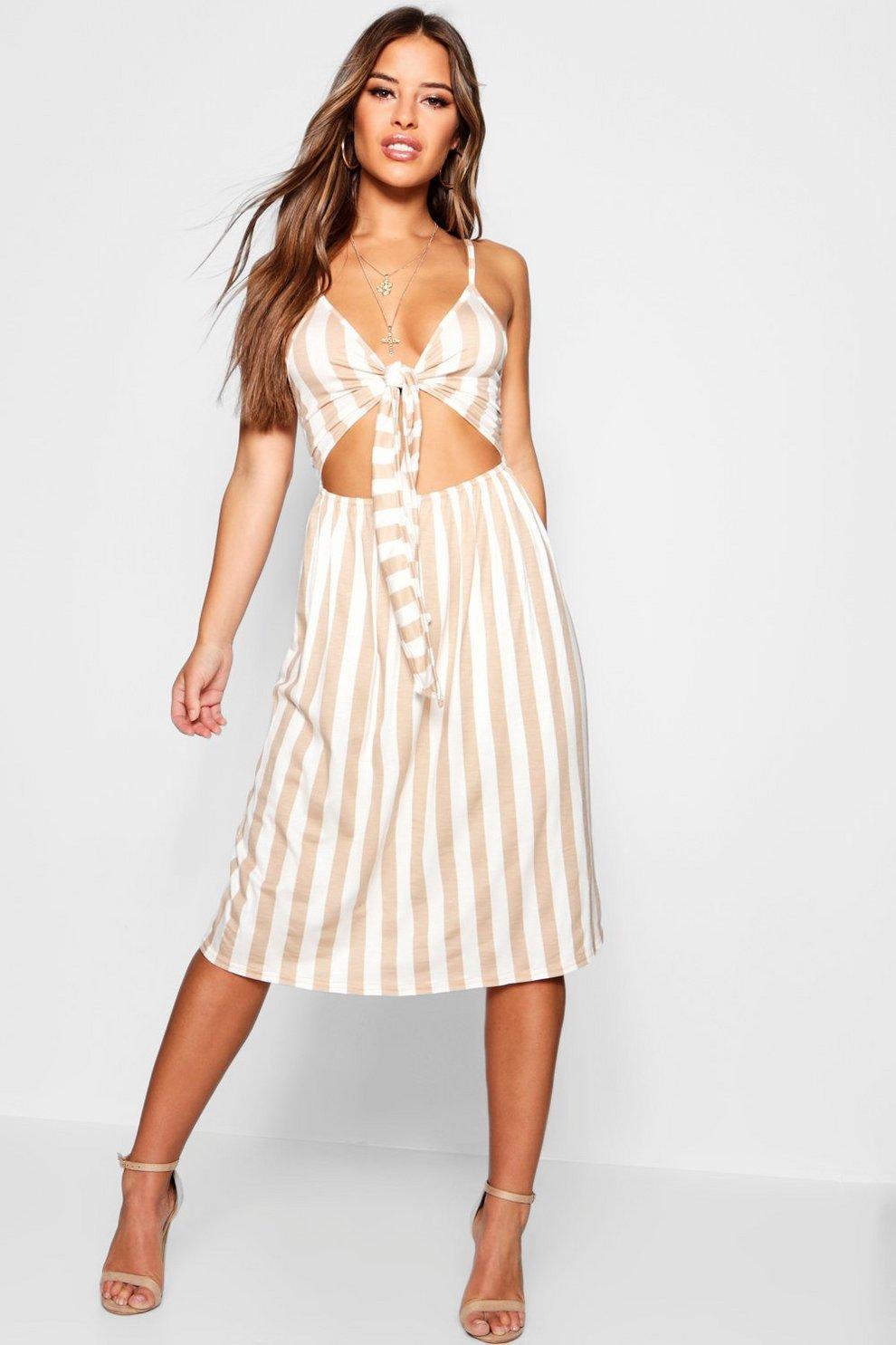d30fc64849 Petite Niamh Tie Front Striped Midi Dress | Boohoo