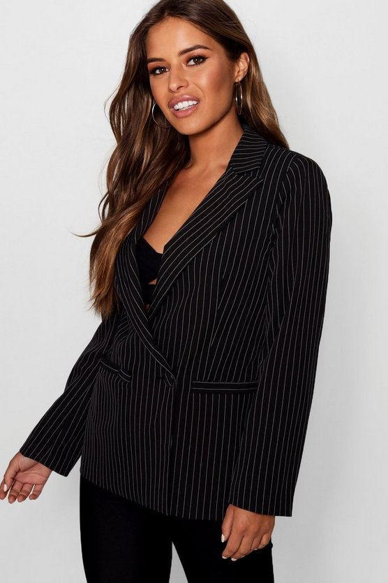 Petite Izzie Stripe Double Breasted Tailored Suit Blazer
