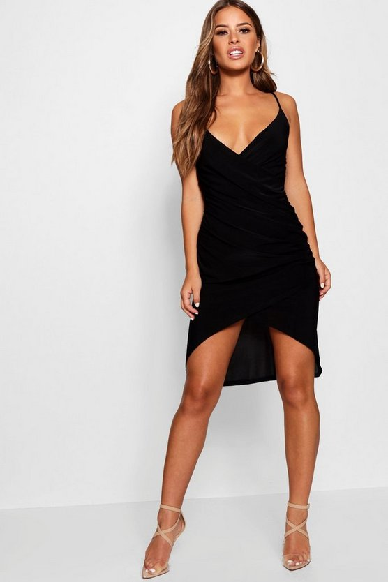 Petite Bella Wrap Front Midi Dress