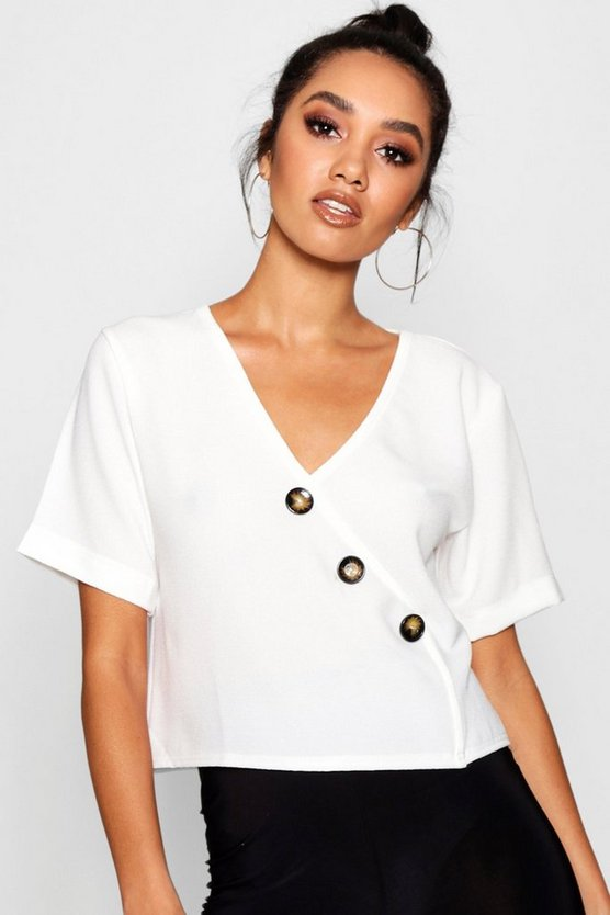 White Petite Button Front Short Sleeve Blouse