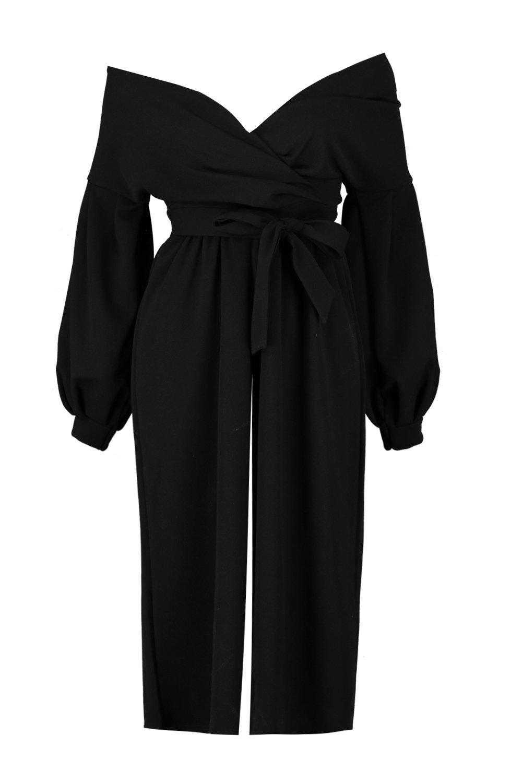 black Bardot Wrap Jumpsuit Culotte Petite qIHpwCOqx