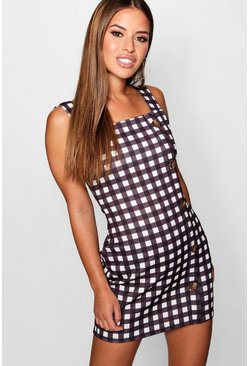 Womens Black Petite Mock Horn Button Through Checked Shift Dress
