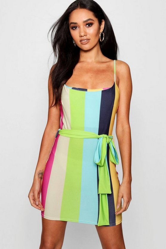 Womens Green Petite Multi Stripe Strappy Bodycon Dress