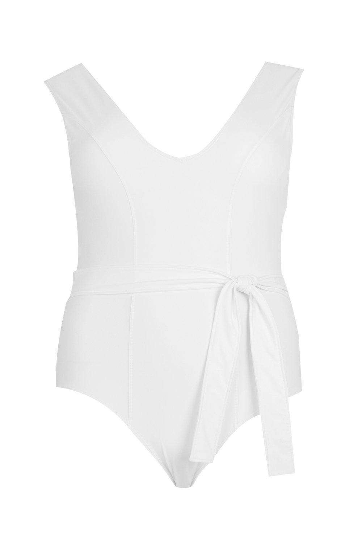 Tie Plunge Waist white Swimsuit Plus Front gqpfdqz