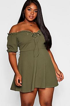 Plus Lace Up Front Puff Sleeve Skater Dress