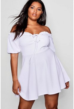 Womens White Plus Lace Up Front Puff Sleeve Skater Dress