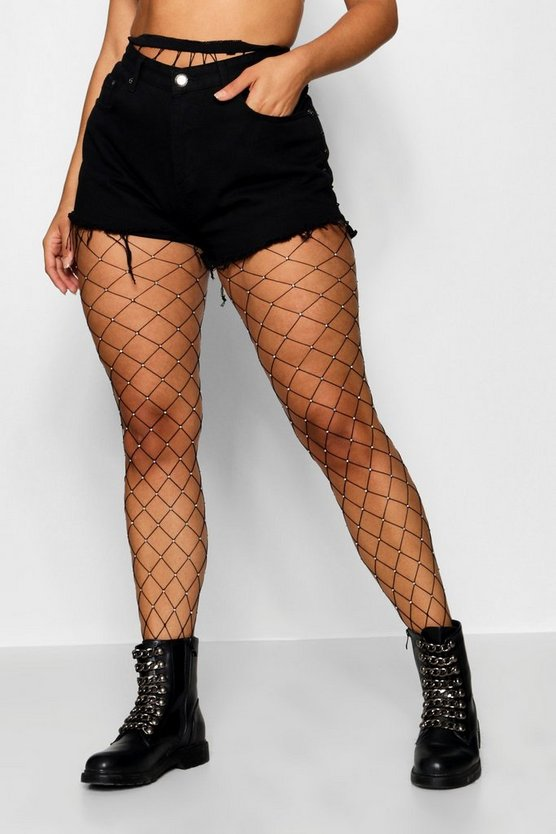Plus Large Scale Fishnet Diamond Tights, Black, DAMEN