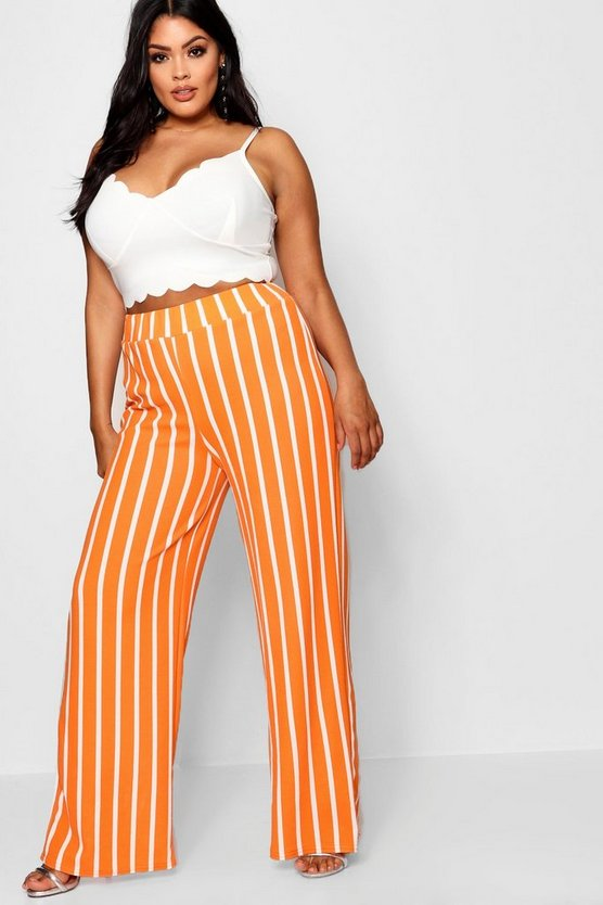 Plus Stripe Wide Leg Trouser