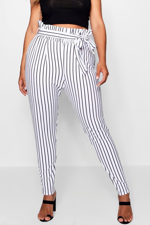 blanco Pantalones Plus fruncida rayas a cintura con cFwqvS4F