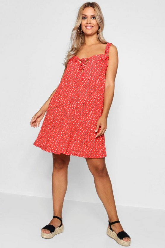 Plus Ditsy Floral Ruffle Sun Dress