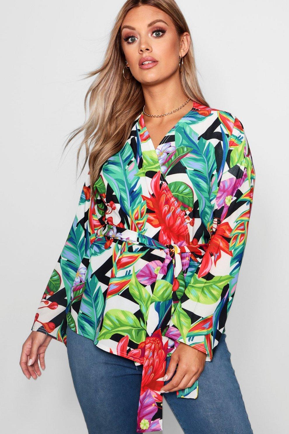 166b97c57fd8 Plus Floral Tropical Print Wrap Top | Boohoo