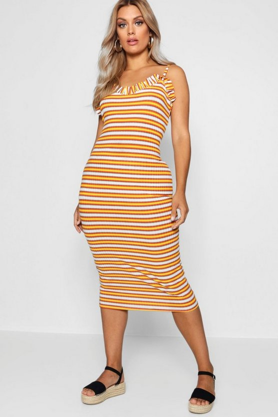 Plus Ribbed Frill Strappy Midi Sun Dress