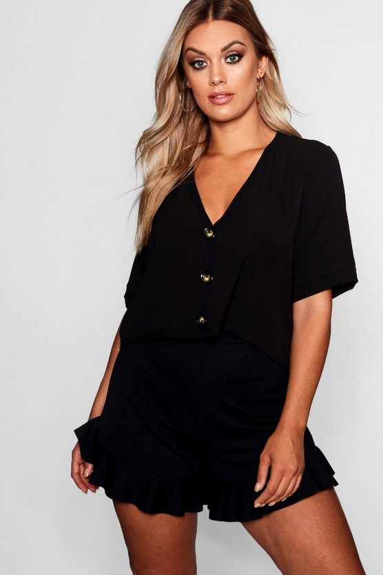 Black Plus Mia Woven Horn Button Through Short Sleeve Top