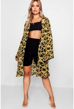 Womens Black Plus Baroque Printed Chain Kimono