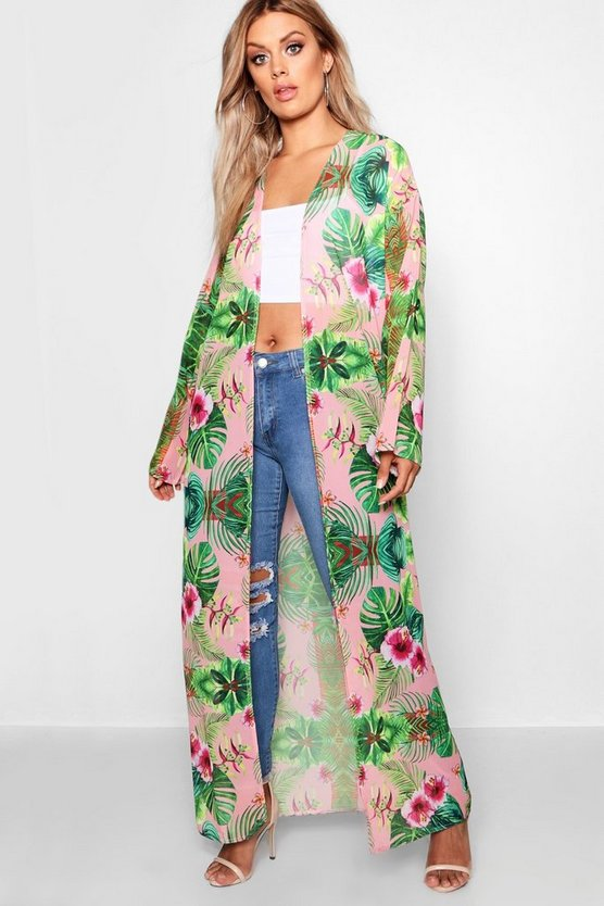 Womens Green Plus Jill Tropical Printed Kimono