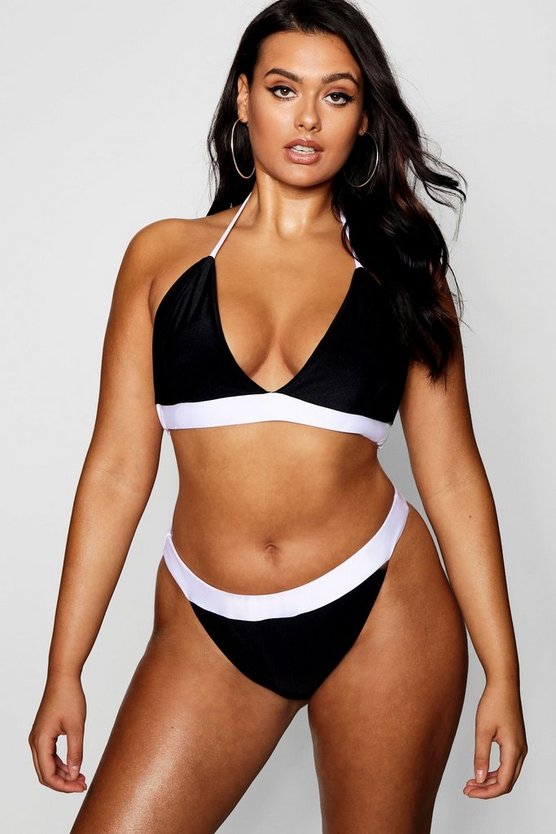 Womens Plus Colour Block Contrast Bikini Set