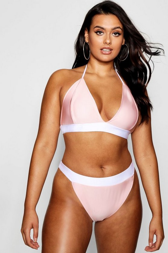 Plus Colour Block Contrast Bikini Set