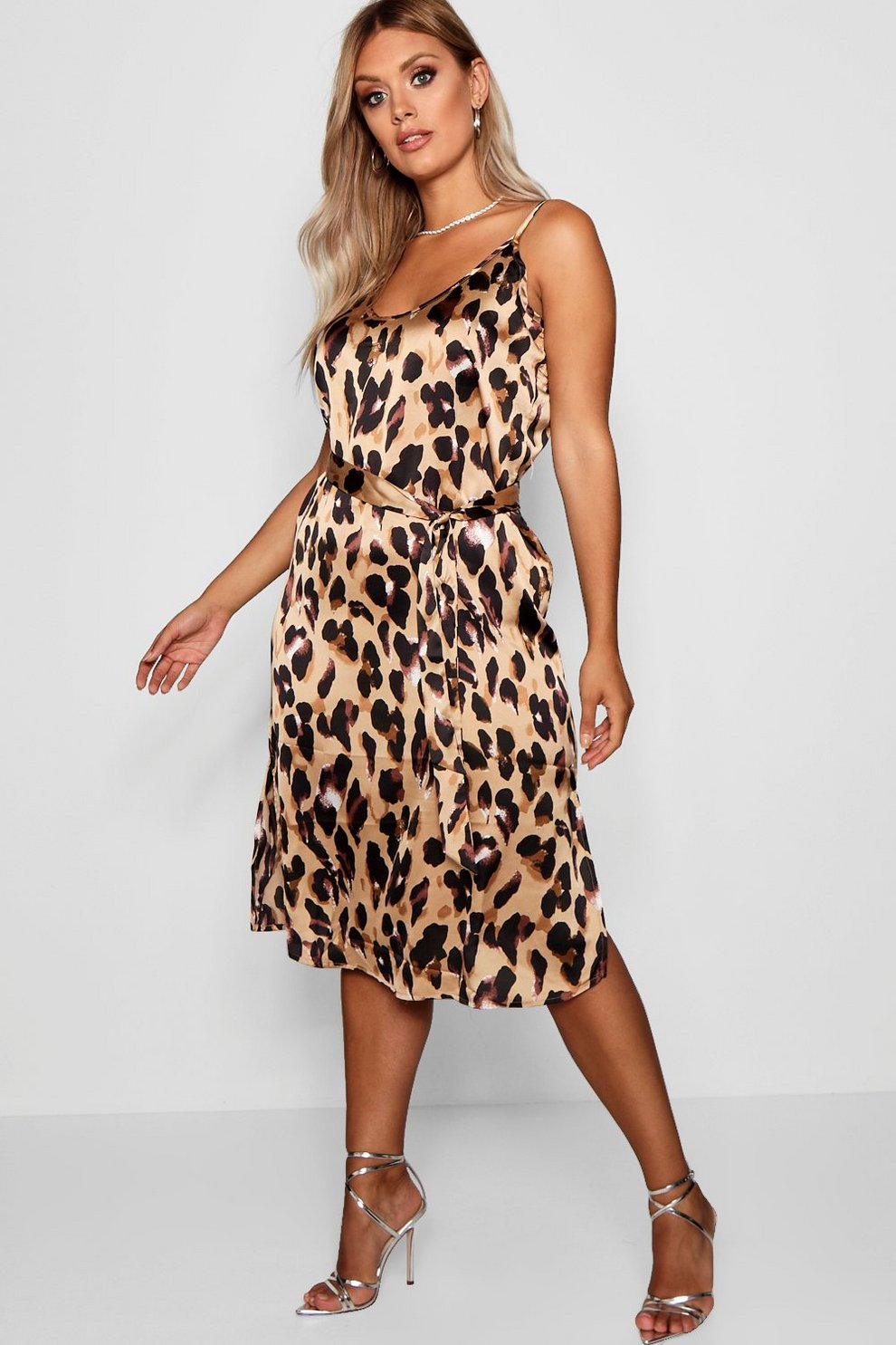 182cb1c3af5fb Womens Brown Plus Libby Leopard Print Strappy Midi Dress