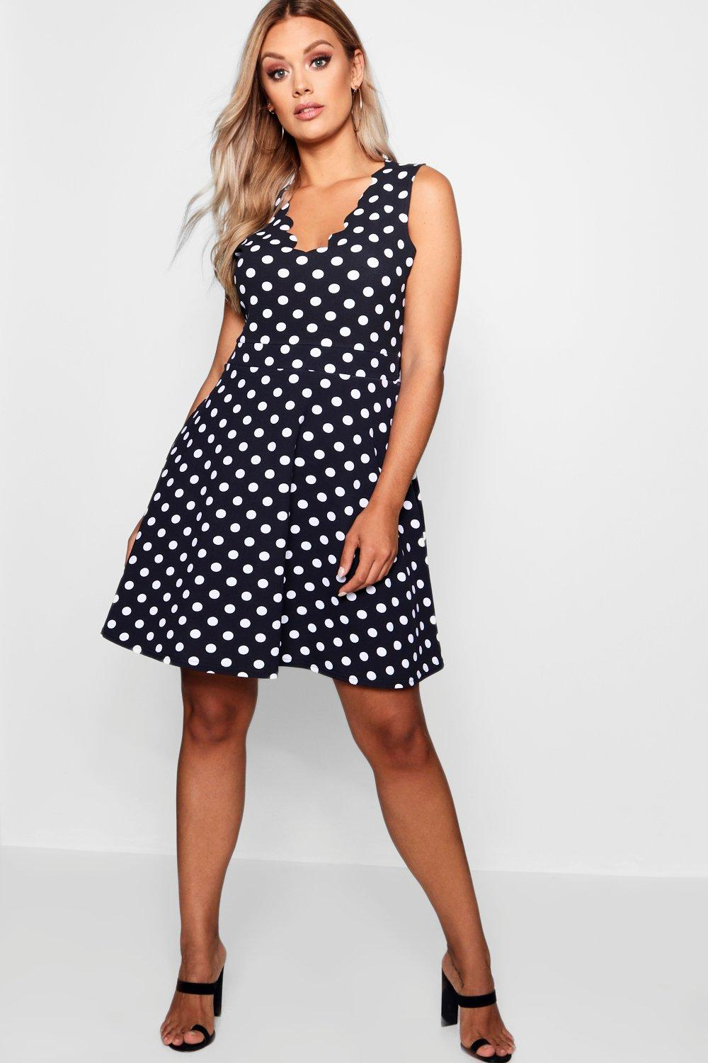 exclusive range special for shoe best cheap Plus Scallop Edge Polka Dot Skater Dress | boohoo